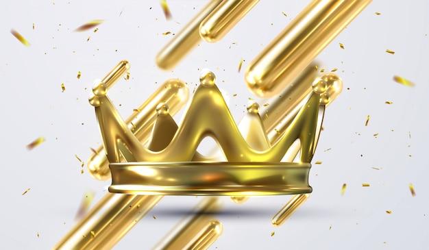 Coroa de ouro realista. cocar coroado para rei e rainha. coroas da jóia vermelha da monarquia aristocrata nobre dourada real. jóias monarca