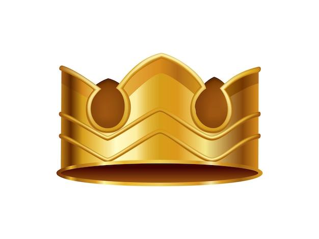 Coroa de ouro realista. cocar de coroação para rei ou rainha. símbolo da monarquia real nobre aristocrata. decoração heráldica do monarca.