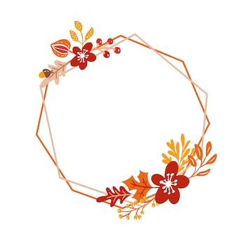 Coroa de outono buquê de quadro com folhas de laranja e bagas isoladas no branco