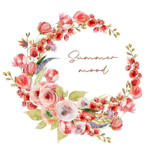 Coroa de plantas aquarela, flores vermelhas, folhagens e flores silvestres