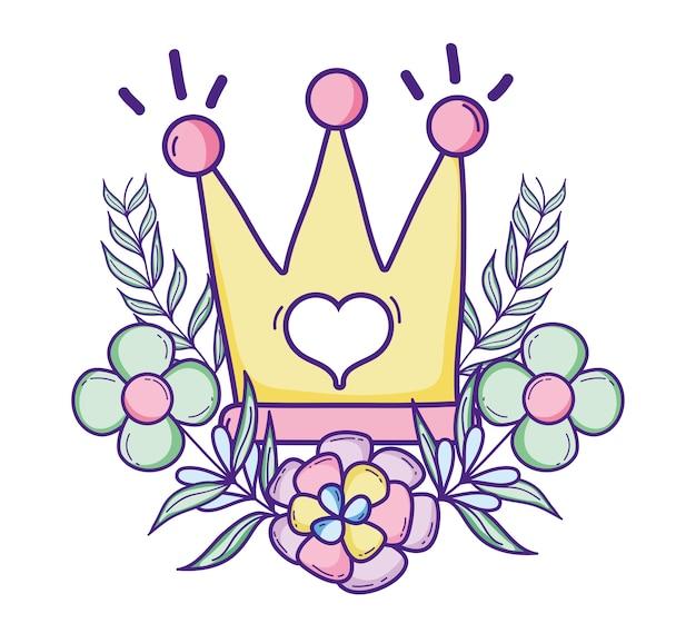 Coroa de rainha fofo com flores e folhas