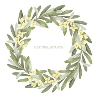 Coroa de ramos de oliveira em flor