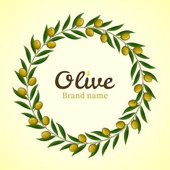 Coroa de ramos de oliveira verde.