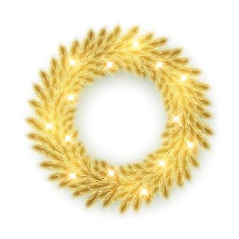 Coroa de ramos de pinheiro dourado isolada no branco