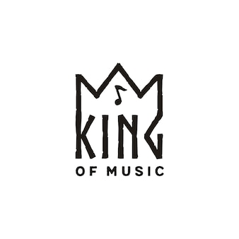 Coroa de rei com design de logotipo de nota de música