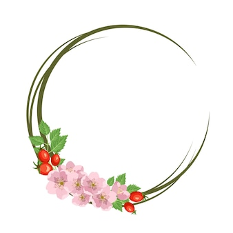 Coroa de rosa mosqueta. moldura redonda, lindas flores cor de rosa, frutos vermelhos e folhas. decorações festivas para casamento, férias, cartão postal, cartaz e design. ilustração em vetor plana