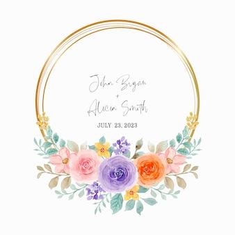 Coroa de rosas coloridas em aquarela com moldura dourada