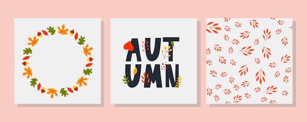 Coroa de vetor de folhas de outono e frutas em estilo aquarela linda coroa redonda de amarelo e re ...