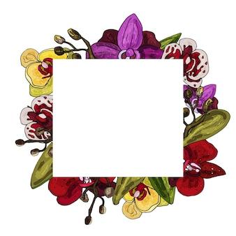 Coroa decorativa de orquídea cartão de convite delicado para casamento e aniversário copie o espaço