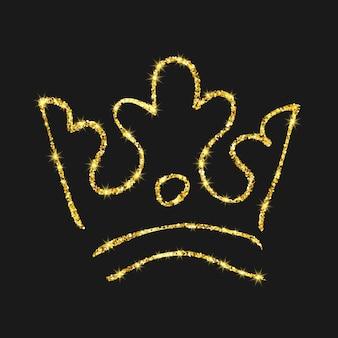 Coroa desenhada de mão de glitter dourados. rainha do esboço do graffiti simples ou coroa do rei. coroação imperial real e símbolo do monarca isolado em fundo escuro. ilustração vetorial.