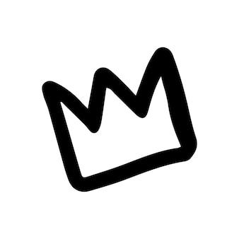 Coroa desenhada de mão única para cartões, cartazes, mulher, design