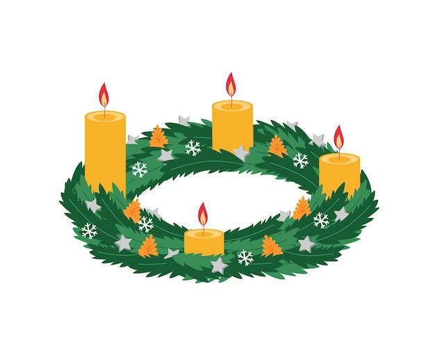 Coroa do advento com velas e decoração