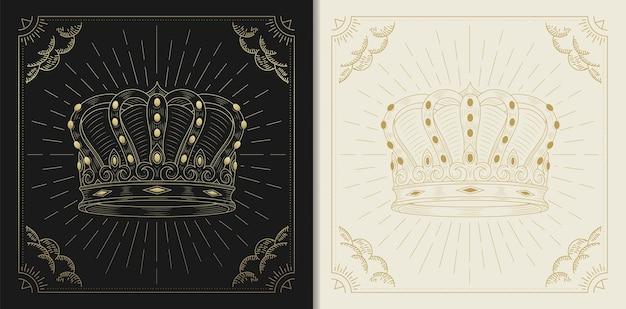 Coroa do rei em gravura, estilo luxuoso