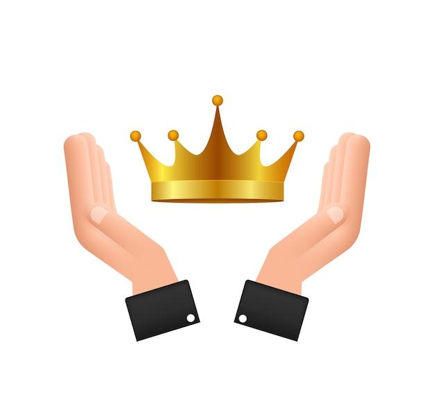 Coroa do rei pairando sobre as mãos isoladas no fundo branco ícone real dourado