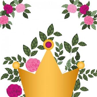Coroa dourada, com, rosas, isolado, ícone