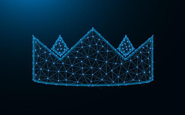 Coroa feita de pontos e linhas em fundo azul escuro, malha de arame real poligonal