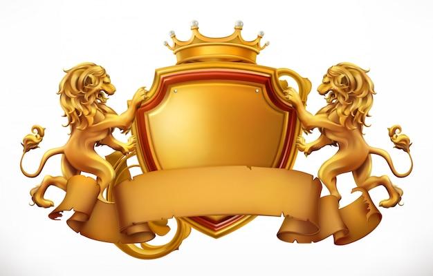 Coroa, leões e escudo. 3d