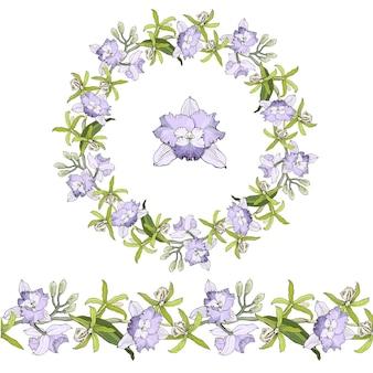 Coroa natural redonda ou moldura de ramos com delicadas flores de orquídeas cattleya