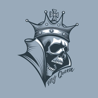 Coroa no crânio com a inscrição minha rainha