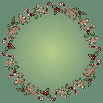 Coroa ornamental de azevinho e doces de natal