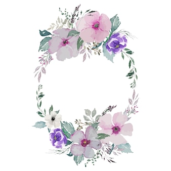 Coroa oval de flores em aquarela e folhas verdes