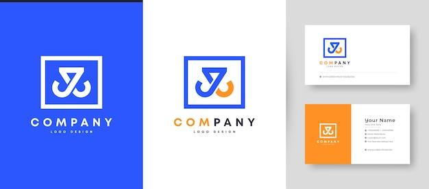 Coroa plana mínima inicial j, jj e jl logotipo da letra com modelo de design de cartão de visita premium
