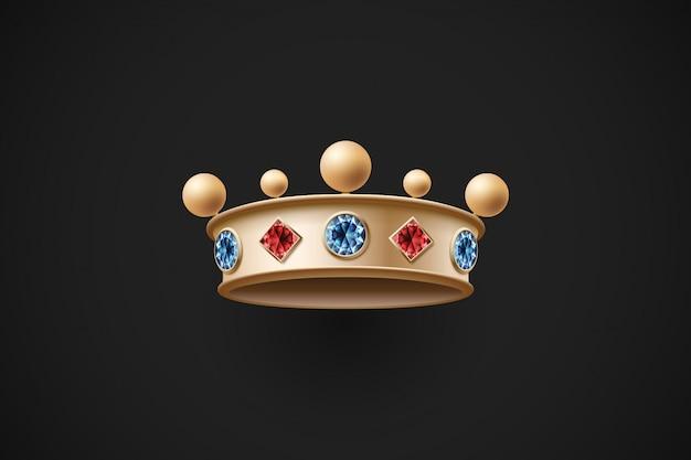 Coroa real de ouro com diamantes vermelhos e azuis