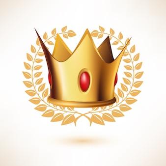 Coroa real dourada com coroa de louros isolada no branco