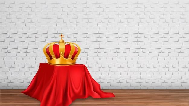 Coroa real monarca dourada em exposição