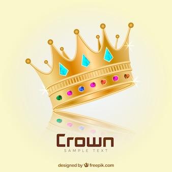 Coroa realista com pedras preciosas decorativos
