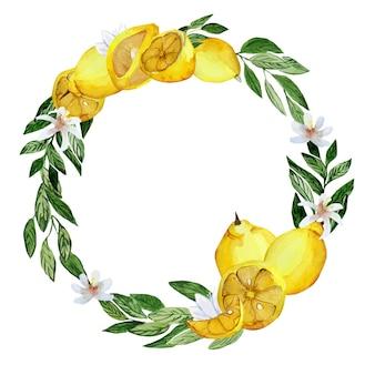 Coroa redonda aqualella com limões e folhas