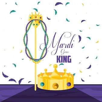 Coroa rei da celebração mardi gras