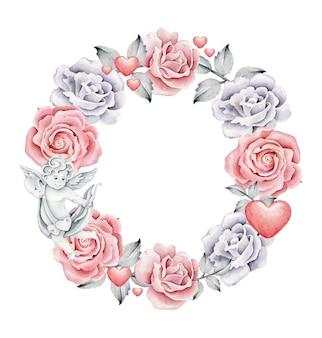 Coroa romântica com rosas isoladas em branco