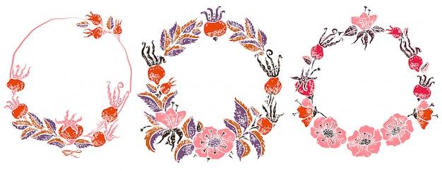 Coroa rosa selvagem em estilo de corte de lino