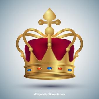 Coroa vermelha e dourada