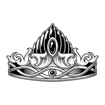 Coroa vintage monocromática