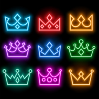 Coroas de estilo neon brilhantes definidas em muitas cores
