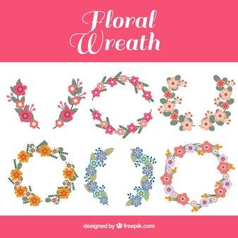 Coroas de flores decorativas com desenhos diferentes