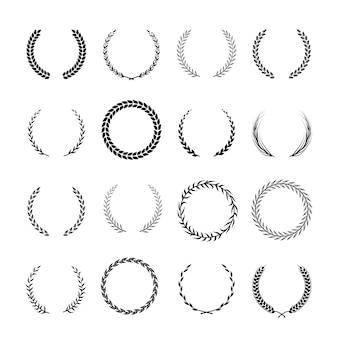 Coroas de heráldica de louro e carvalho redondas