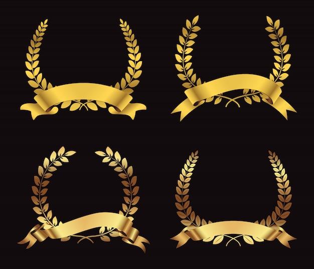 Coroas de louro com prémio de ouro