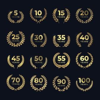 Coroas de louros de aniversário dourado. símbolo de aniversário ouro cravejado de formas de folha de louros. emblema vetorial