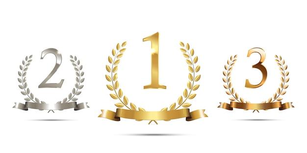 Coroas de louros de ouro, prata e bronze com fitas e sinais de primeiro, segundo e terceiro lugares.