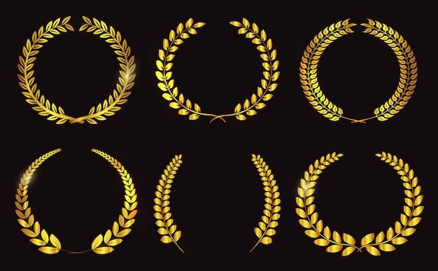 Coroas de louros douradas de luxo