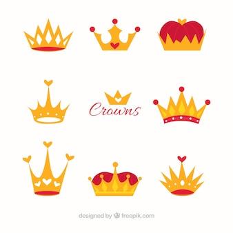 Coroas de luxo em design plano