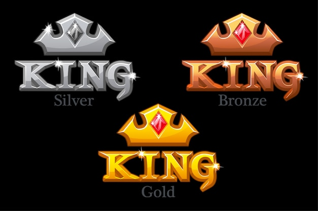 Coroas de ouro, prata ou bronze e logotipo do rei
