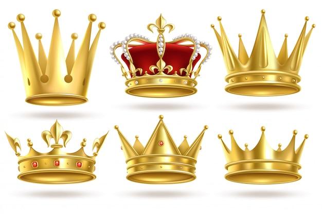 Coroas de ouro realistas. coroa de ouro do rei, do príncipe e da rainha e decoração heráldica real do diadema. sinais do monarca