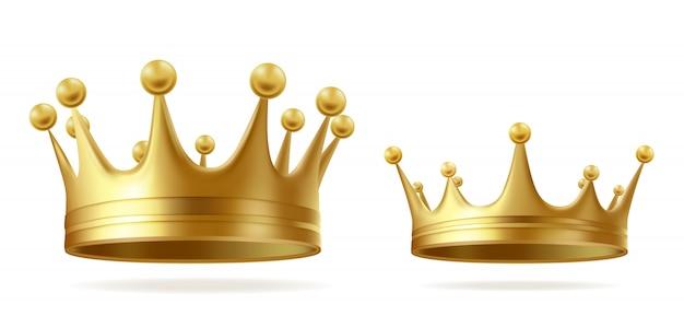 Coroas de ouro rei ou rainha