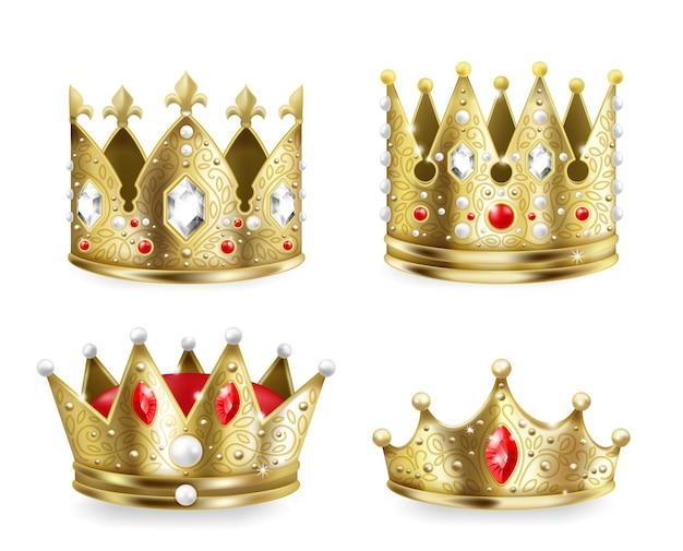 Coroas douradas. elemento de decoração heráldica real 3d realista, conjunto de luxo medieval rei e rainha. decoração heráldica de imagem vetorial, coroas de monarquia de ouro isoladas