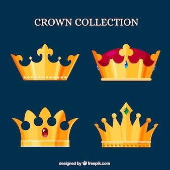 Coroas douradas em design plano