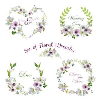Coroas florais de flores de lírio e anêmona